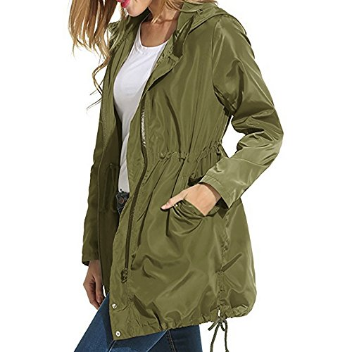 Wonvatu Womens Rain Jacket Waterproof with Hood Lightweight Rain Trench Coat Long Sleeve Black Windbreaker for Ladies