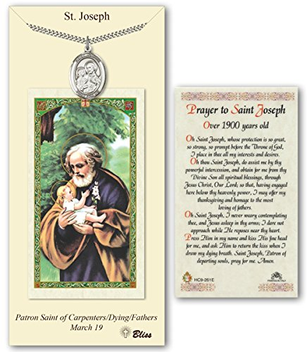 Pewter Saint Joseph Medal with Over 1900 Years Old Laminated Holy Prayer Card (Pewter Over Pendants)