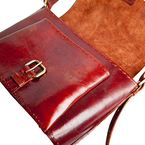 Classic Large Handmade Red Leather Cross-Body Bag
