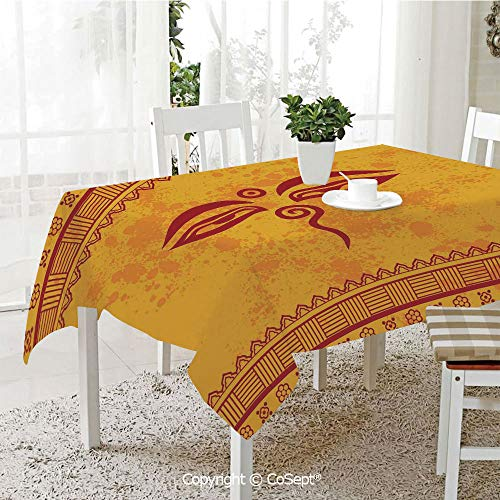 """SCOXIXI Spillproof Tablecloth,Traditional Eyes Asian Tibetan Henna Design Print,Table Cloth for Kitchen Dinning Tabletop Decoration(60.23"""" x 84.25""""),"""