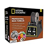 National Geographic Professional Rock Tumbler Kit- Advanced Features Include Shutoff Timer & Speed Control - 2Lb Barrel, 1Lb Gemstones, 4 Polishing Grits, Jewelry Fastenings & Learning Guide