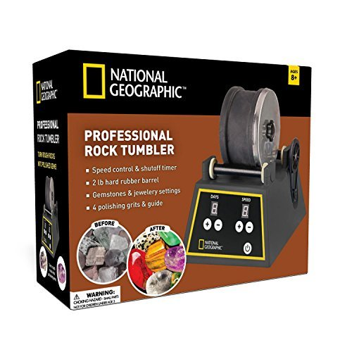 - National Geographic Professional Rock Tumbler Kit- Advanced Features Include Shutoff Timer & Speed Control - 2Lb Barrel, 1Lb Gemstones, 4 Polishing Grits, Jewelry Fastenings & Learning Guide