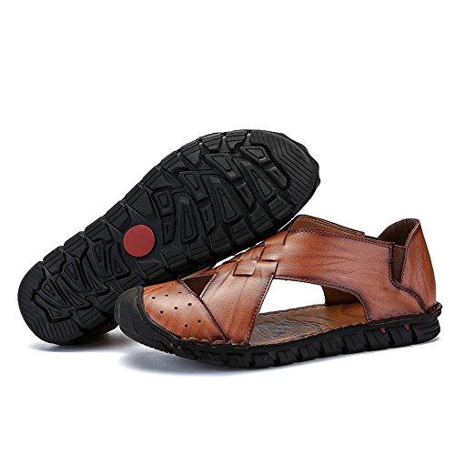 Color Light 3 Size EU in Reddish uomo Brown da pescatore all'aperto pelle brown sportivi da scarpe Sandali da Sandali spiaggia 41 spiaggia da Sandali estivi 1 Tafqn