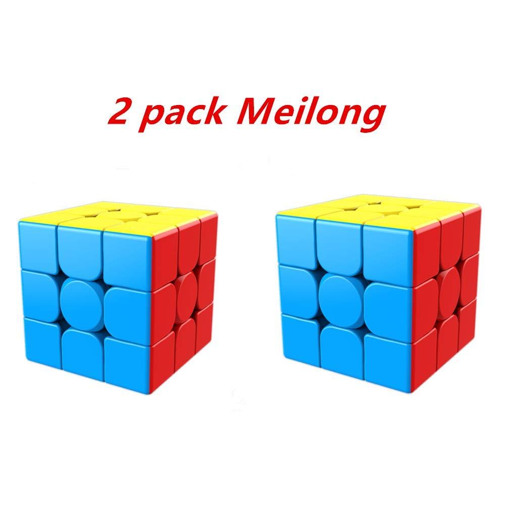 Cuberspeed Moyu Meilong 3x3x3 ステッカーレス スピードキューブ MoFang JiaoShi キュービング 教室 Meilong 3X3 パズル 2個セット   B07QBFRVQN