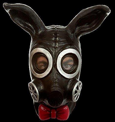 Ghoulish Productions Black Bunny Rabbit Gas Mask Latex Apocalypse LARP Halloween Costume Accessory]()