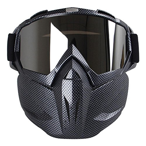 Motorcycle Goggles Mask, Aolvo Windproof Face Mask Goggles Multipurpose for Airsoft/ CS/Paintball/Skiing/Riding/Snowmobile/Cycling for Kids and Adult - Carbon Fiber