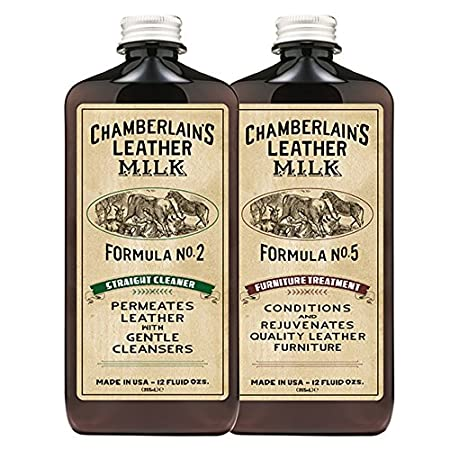 Leather Milk Leather Furniture Cleaner & Conditioner Kit (2 Bottle Furniture Care Set) - Straight Cleaner No. 2 + Furniture Treatment No. 5 - All Natural, Non-Toxic. Made in USA. W/ 2 Restoration Pads Chamberlain' s Leather Milk