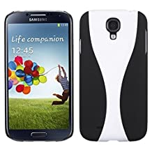 MyBat Samsung Galaxy S4 (I337/L720/M919/I545/R970/I9505/I9500) Wave Phone Back Protector Cover (Rubberized) - Retail Packaging - White/Black