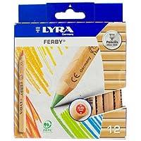 LYRA Ferby Lápices de colores triangulares gigantes, sin lacar, núcleos de 6,25 milímetros, colores surtidos, 12 unidades (3611120)