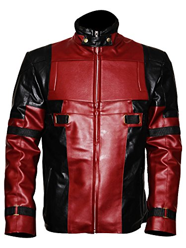 The Jacket Makers Deadpool Costume Slim Fit Leather Jackets (L, Faux Leather) -