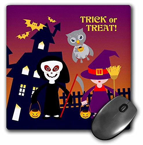 3dRose Belinha Fernandes - Halloween Celebration - Trick or treat message and kids dressed up as death and witch with owl - MousePad -