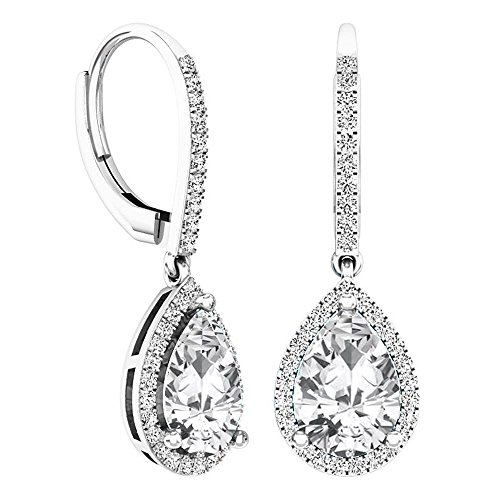 (Dazzlingrock Collection 10X7 MM Each Pear Created White Sapphire & Round Diamond Ladies Dangling Earrings, Sterling Silver)