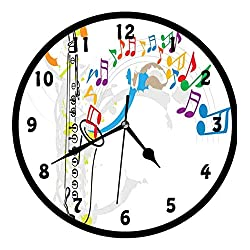Jazz Music, Celebration Festival Theme Colorful Artwork with Music Notes and Saxophone,Wall Clock Nice For Gift or Office Home Unique Decorative Clock Wall Decor 12in with Frame, Orange Green Red