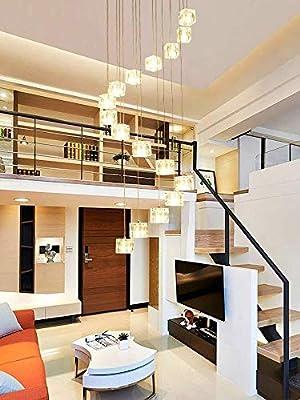 GX 16 Piezas De Cristal Hueco De La Escalera Lámpara De Araña, El Método De Rotación Fila, Moderno Minimalista del Arte Luz Saltando Creativa Salón Loft Duplex Villa De Lámparas AA+: Amazon.es: