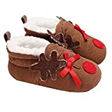 Morbuy Baby First Walking Shoes Winter Cotton Boots Newborn Infant Soft Anti-Slip Sneaker Sole Keep Warm Christmas (11cm / 0-6 Month, Brown)
