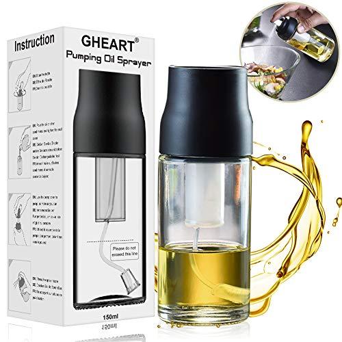 Ölsprüher Flasche Öl Sprayer Olivenöl Spender Glas 150ml Verbessertes Oil Sprayer für Salat, BBQ, Backen, Pasta, BPA-Free Safe für Küche Kochen
