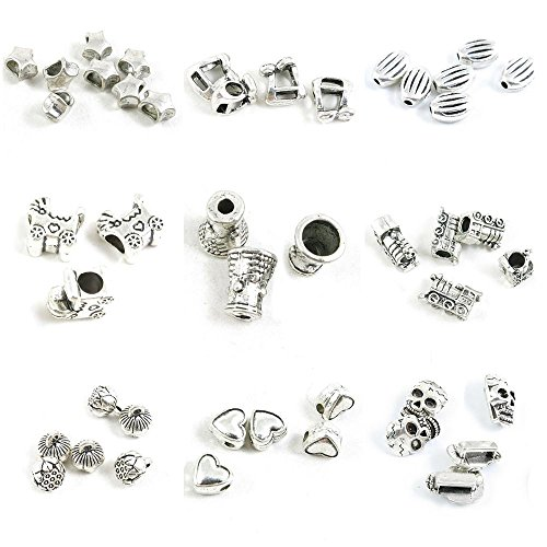 45 Pieces Antique Silver Tone Jewelry Making Charms Skull Loose Beads Heart Lotus Locomotive Cap Stroller Baby Carriages Stripe Oval Music Note Star