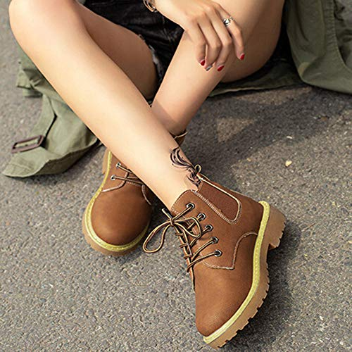 Zapatillas Marrón Hebilla Cordones Botas Botitas Calzado Moda Casual Luckygirls Con Para Zapatos Mujer TtqSp