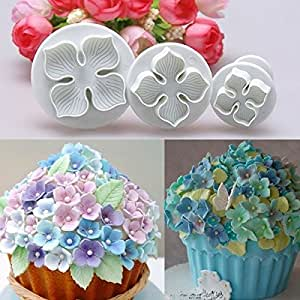 Ainest 3pc Nice Fondant Cake Decorating Sugarcraft Plunger Cutter Hydrangea Flower Mold