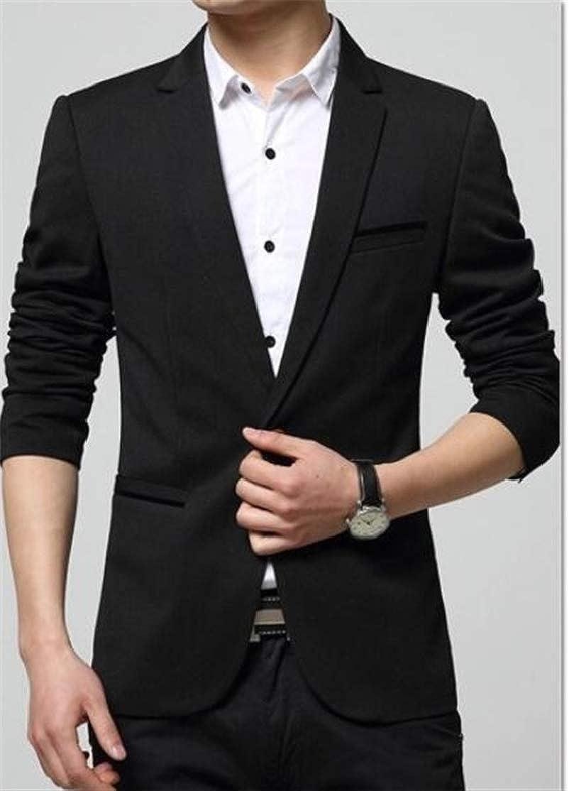 Cromoncent Mens Juniors Lapel One Button Coat Slim Blazer Jackets