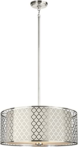 Sea Gull Lighting 6515503-962 Jourdanton Three-Light Pendant with Satin Etched Glass and Faux Silk Fabric and Stainless Steel Shades, Brushed Nickel Finish