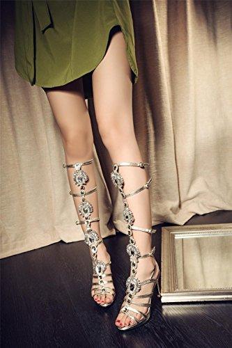 YEEY Sandalias de verano de la rodilla de las señoras alto abierto Toe elegante rhinestones botas sandalias zapatos gold (high heel)
