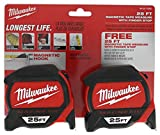 Milwaukee 48-22-7125G 25 Ft. Magnetic Tape Measure with Finger Stop and Scale Ruler (2 Pack)