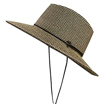 Unisex Cc St111 Upf50+ Protect Wide Brim Straw Sun Hat 2 Colors (110 Brown)