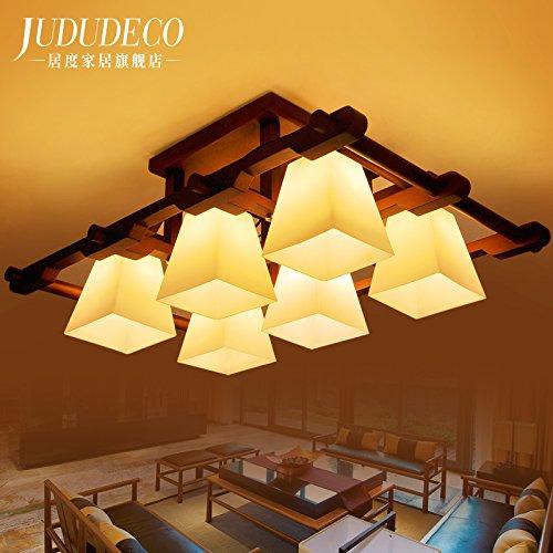 BLYC- Chinesische feste Holz Lampe Wohnzimmer Lampe rechteckige atmosphärische Licht Südostasien Studie Schlafzimmer Deckenleuchte 870 * 610 * 340 mm