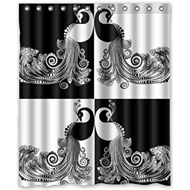 Outlet-Seller Custom Black and White Peacocks Waterproof Bathroom Fabric Shower Curtain 60  x 72