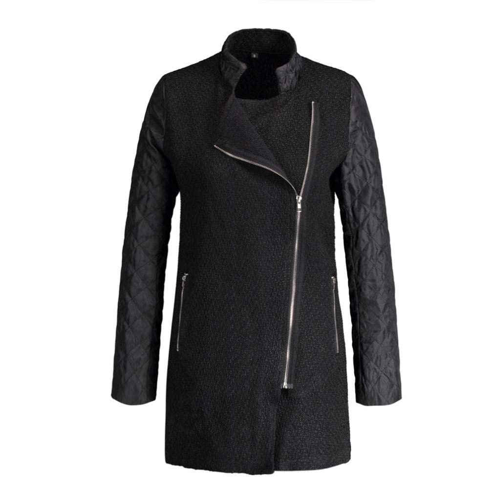 Spbamboo Womens Coat Zipper Leather Splice Windbreaker Slim Coats Winter Jackets by Spbamboo (Image #4)