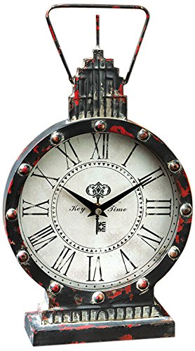 Design Toscano Gotham Steampunk Metal Table Clock, Antique Black