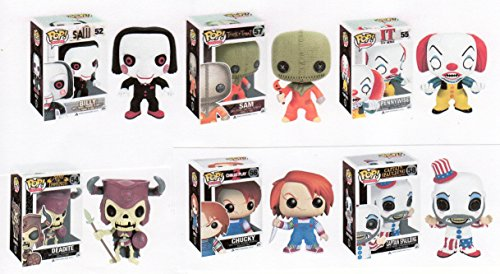 "Funko HORROR MOVIE 3.75"" SERIES 2 POP SET - Trick or Treat Sam - Chucky - IT Pennywise - SAW Billy - Evil Dead Deadite - Captain Spaulding"