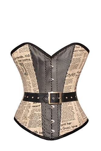 CorsetsNmore Retro Style Vintage Costume Cotton Newspaper Print Leather Belt Overbust Corset ()