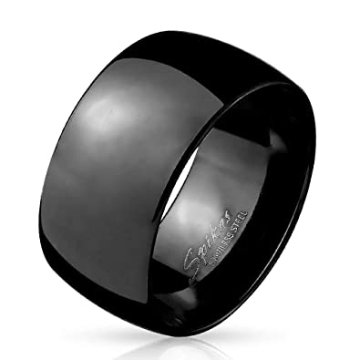 Anillo para hombre en Acero Inoxidable negro plateada - Anillo niños, Adolescentes, Alianza Bodas, Compromiso - Bisutería de fantasía para Hombre - 4 ...