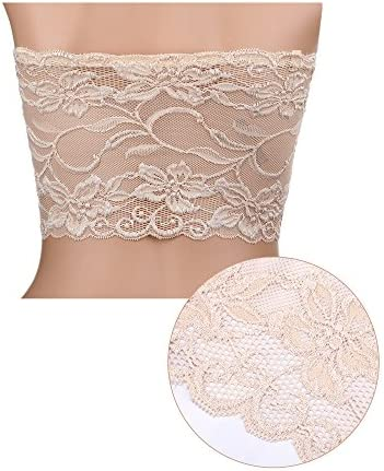 Details about  /Hestya Women/'s Full Floral Lace Tube Bra Top Strapless Seamless Stretchy Lace M,