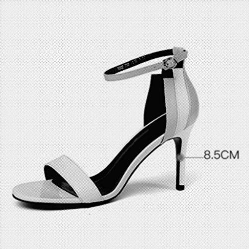 Toe Escarpin CN35 Couleur Blanc Sexy Chaussures Open Blanc MUMA Sandales Stiletto UK3 5 Taille Talons Hauts Femme EU36 0xnaqdv