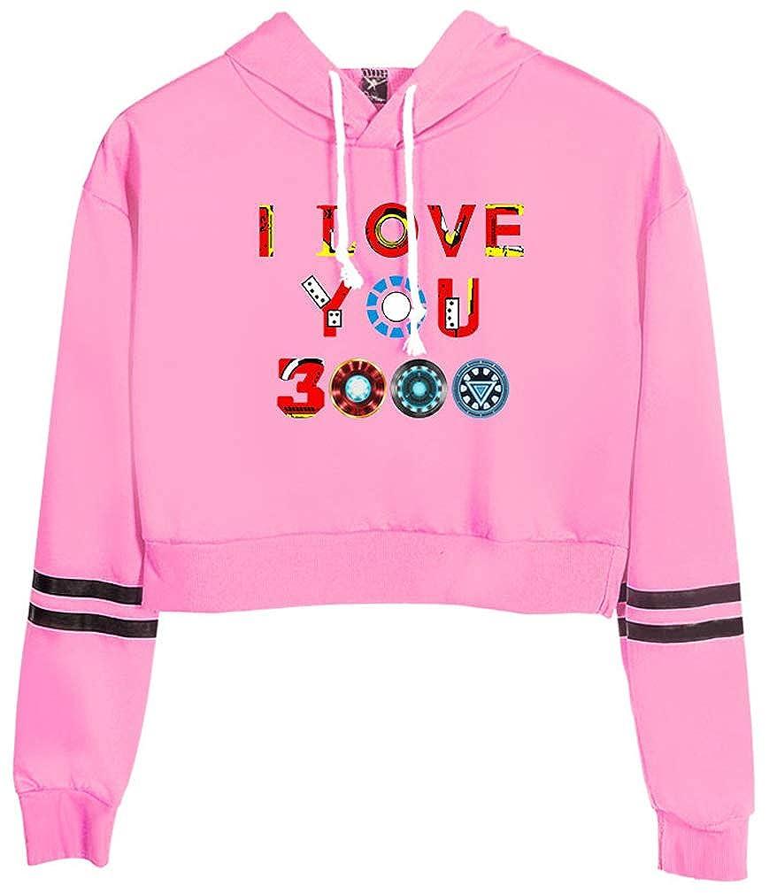 Leslady Sudaderas con Capucha I Love You 3000 Time Dad Imprimir Sudaderas Manga Larga Top Mujer Casual Camisa Deportiva Estiramiento Tumblr Elegante Camiseta de Verano