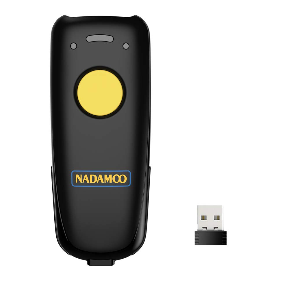 NADAMOO 2D Wireless Barcode Scanner, Compatible with Bluetooth Function & 2.4GHz Wireless & Wired Connection, Connect Phone, Tablet, PC, Bar Code Reader Work with Windows, Mac, Android, iOS, Read 1D,
