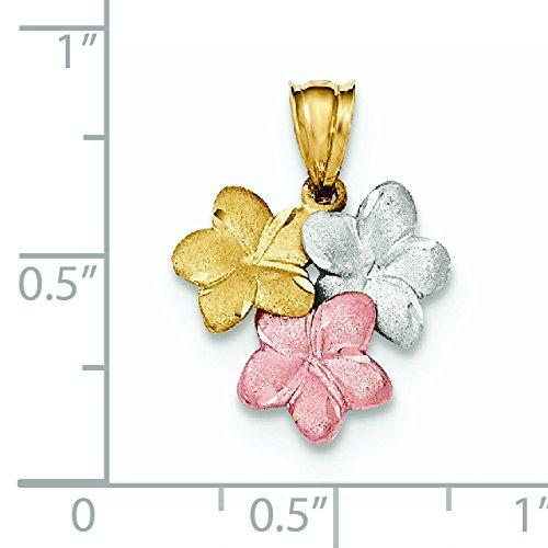 Pendentif Fleur en or tricolore 14carats