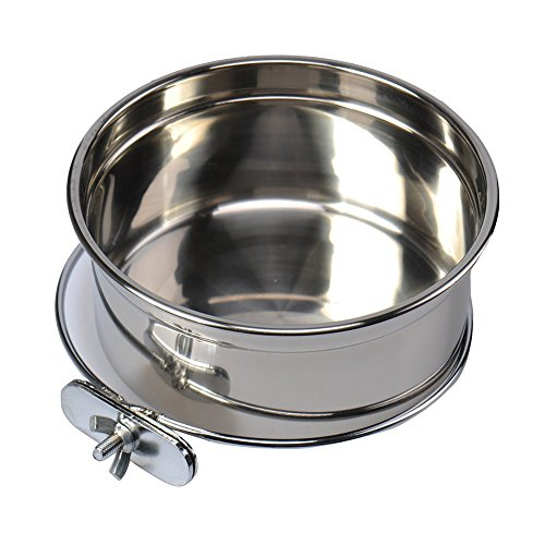 Stainless Steel Food Water Bowl For Pet Bird Crates Cages Coop Dog Cat Parrot Bird Rabbit Pet - Cage Large Parrot Bird