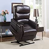 Madison Home Classic Plush Bonded Leather Power Lift Recliner Living...