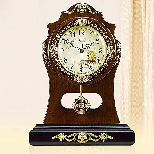 ヨーロッパの純木の創造的な庭の時計純木のビンテージ装飾の机の時計の大きい無声電子芸術的な時計の卸売 作りがいい (色 : Brown)