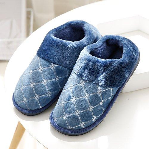 Fankou Autunno e Inverno moda pantofole di cotone femmina maschio spessa soggiorno caldo piano anti-slip piscina ,43-44, Blu Grigio