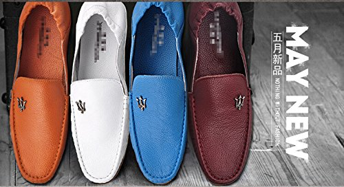 HAPPYSHOP(TM) Mens Genuine Leather Ventilated Casual Slip-on Loafer Flats Driving Cars Shoes Quicheshoes Blue IdkZXIu3A