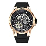 Huboler Tourbillon Watches Wrist Watches Skeleton Mechanical Stainless Steel  Executive Automatic Luxury Jewels Precise Movement for Men (Gold Black)