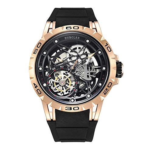 Huboler Tourbillon WatchesWrist Watches Skeleton Mechanical Stainless Steel Executive Automatic Luxury Jewels Precise Movement for Men (Gold Black) (Stainless Watch Mens Steel Executive)