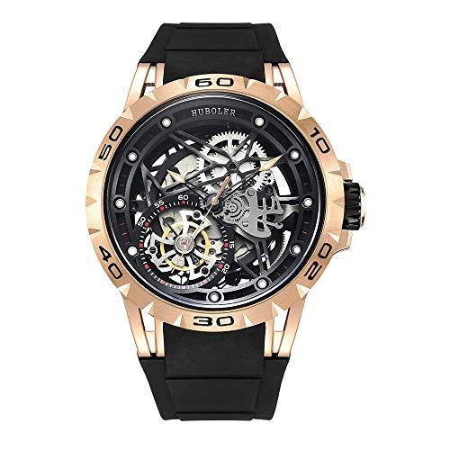 Huboler Tourbillon WatchesWrist Watches Skeleton Mechanical Stainless Steel Executive Automatic Luxury Jewels Precise Movement for Men (Gold Black)