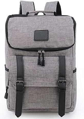 Weekend Shopper Lightweight Canvas Leather Travel Backpack Rucksack School Bag laptop backpack Daypack for School Working Hiking GRAY