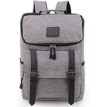 Weekend Shopper Lightweight Vintage Laptop Backpack Rucksack School Bag Laptop Bookbag Daypack for Women and Men GRAY